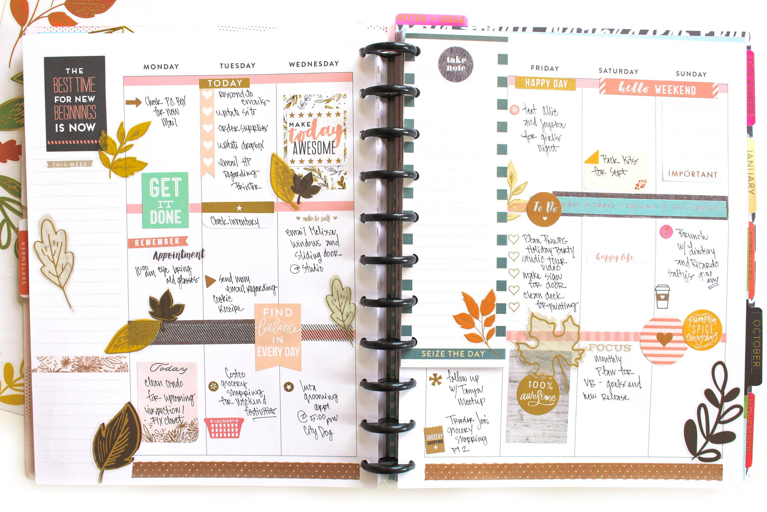 Fall-themed weekly layout before & after the pen | Happy ...