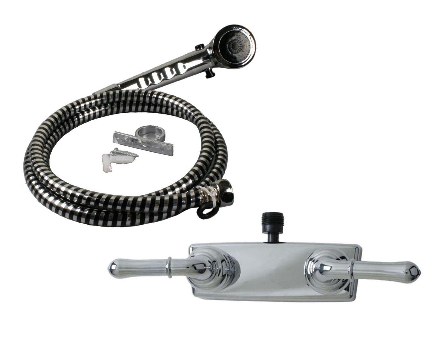 Ultra Faucets Chrome RV Mobile Home Shower Faucet With ... on mobile home replacement sinks, mobile home replacement plumbing, mobile home tub shower faucet, mobile home shower faucet ferguson, mobile home roof over prices,