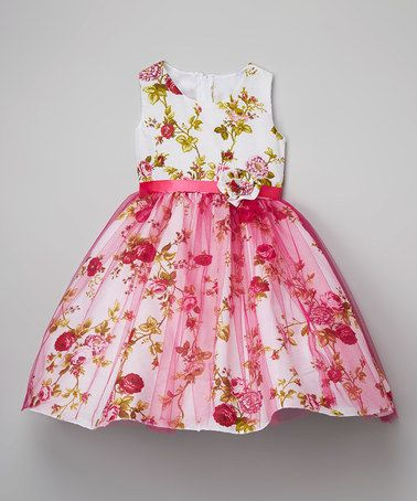 13918542f Loving this Fuchsia Sparkle Floral A-Line Dress - Infant