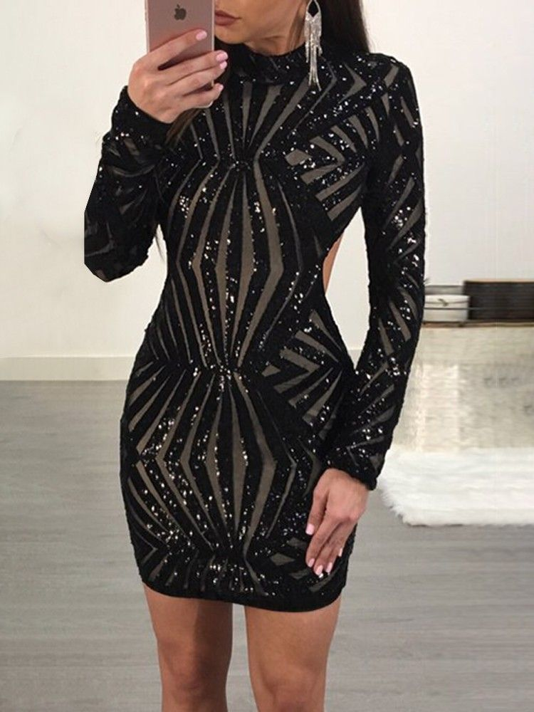 Shinny open back long sleeve bodycon mini dress