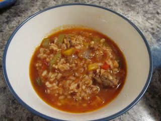 1 lb ground beef 3.85 1 lb Italian sausage1.81 1sweet onion 1.06 2 cloves garlic .05 2 stalks celery .25 2 carrots .25 3 bell peppers (any color)2.00 28 oz crushed tomatoes 1.79 32 oz beef broth2.89 2 cups instant brown rice1.25 4cups water  2 Tbsp all purpose seasoning 2 tsp black pepper parmesean cheese and parsley…