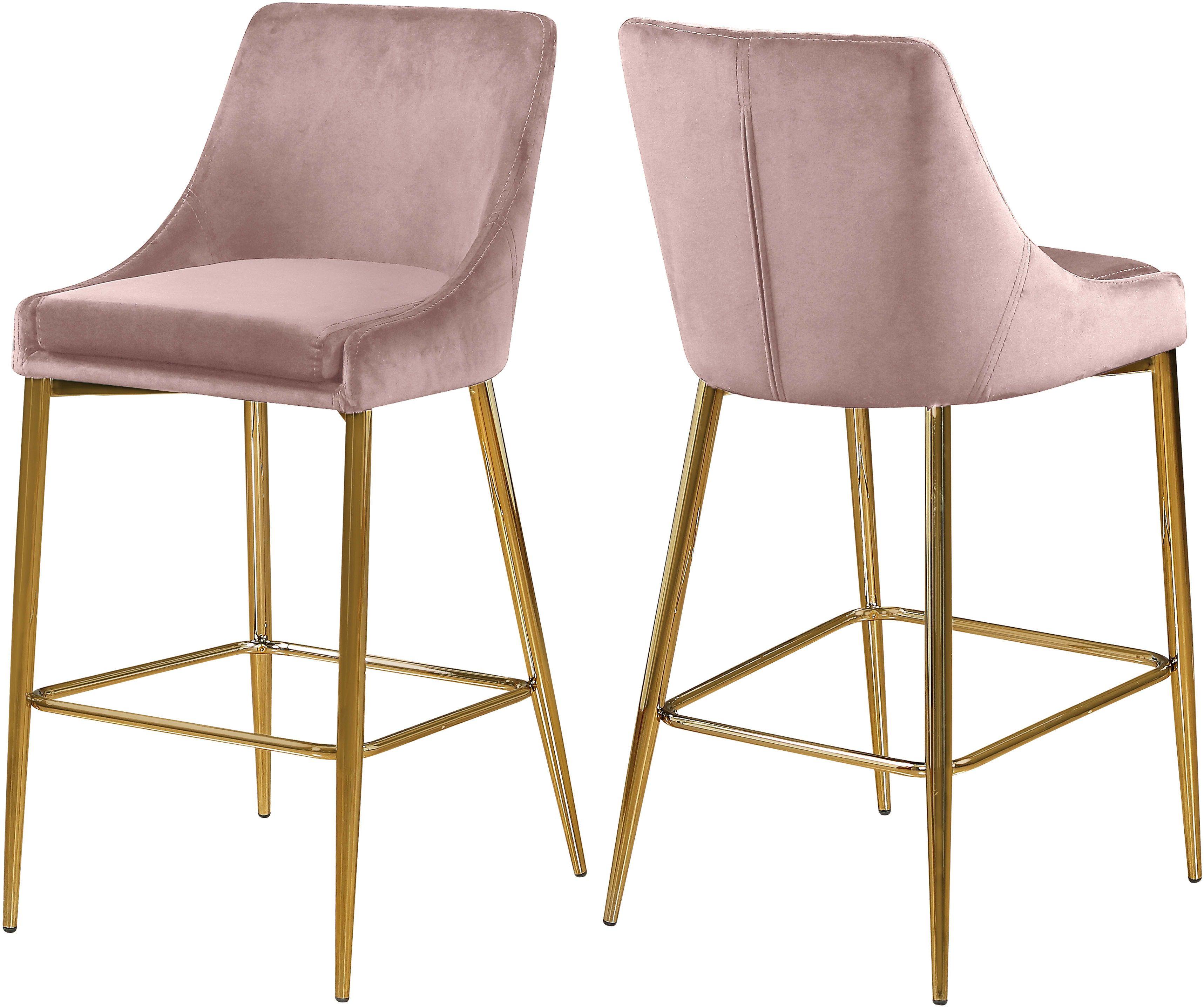 Stupendous Meridian Karina Pink Velvet Stool With Gold Metal Base Set Cjindustries Chair Design For Home Cjindustriesco