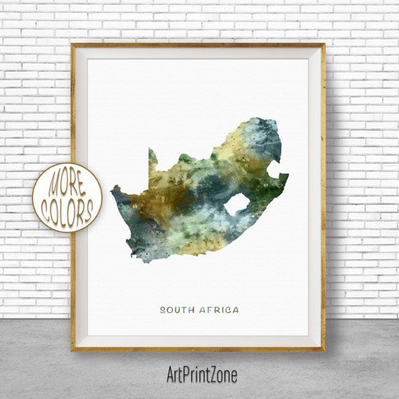 South Africa Art Travel Map Decor Prints Living Room Wall Office Pictures Print Zone