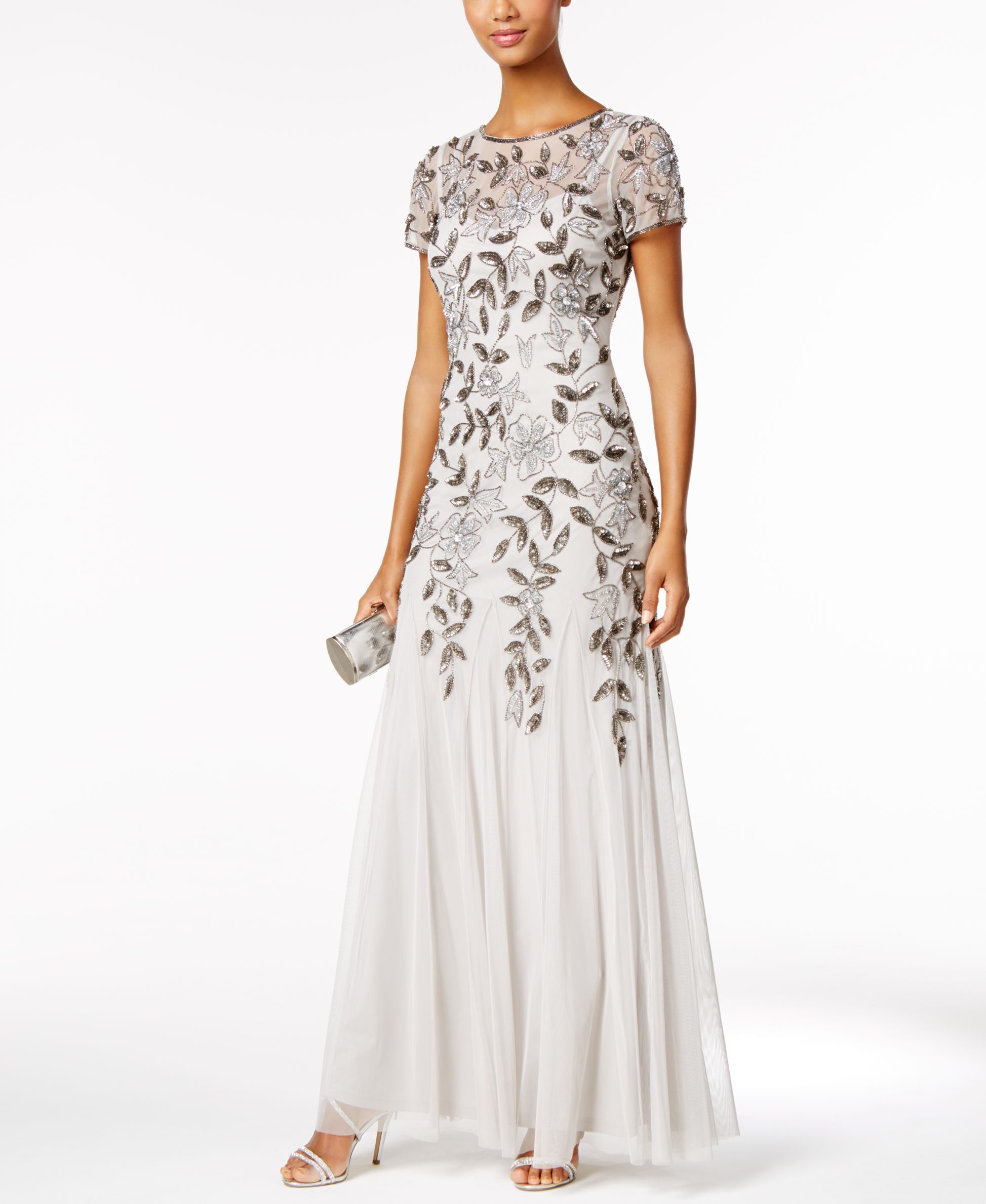 cf98b28cd9f2 Floral-Beaded Gown in 2019 | Products | Beaded gown, Floral print ...