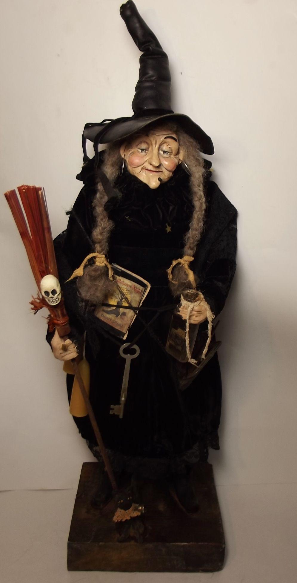 Handmade Witch By Kim Sweet~Kim's Klaus~Vintage Black Velvet~Handmade Broomstick~Cat ~Antique Leather Coin Purse~Potion Bottle