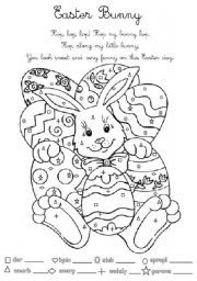 English worksheet Easter Bunny for Young Learners
