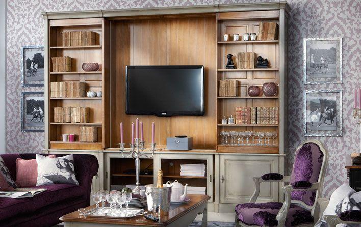 biblioth que directoire insideout pinterest hidden tv room et living room. Black Bedroom Furniture Sets. Home Design Ideas