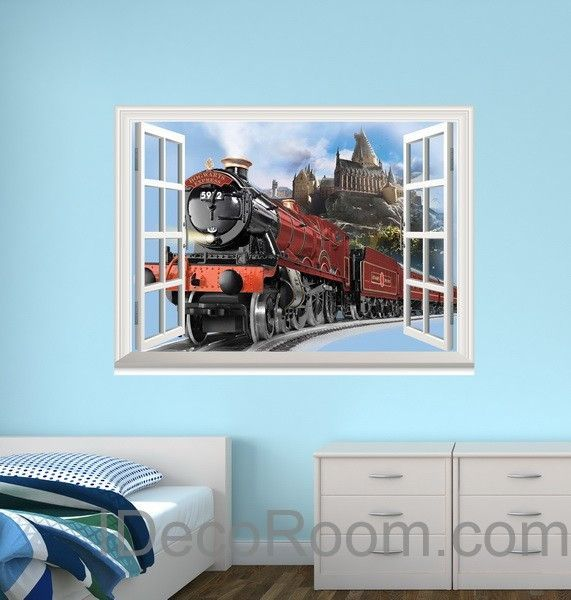 D Window Wall Decals Harry Potter Hogwarts Express Train Wall Art - Vinyl wall decals home party