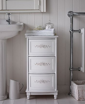 White Rose Bathroom Cabinet With 3 Drawers For Storage From The Lighthouse