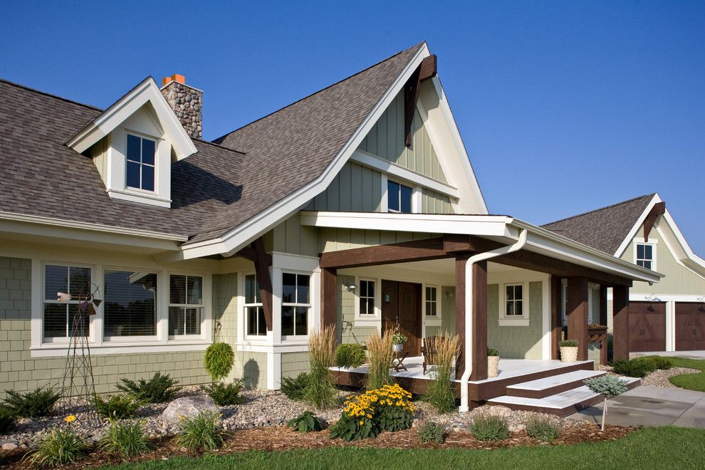 hardie shingles Exterior Farmhouse with board and batten