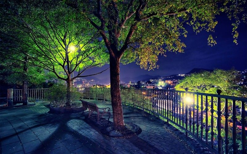 Park Night Fall Lights Autumn Garden In 2020 Anime Scenery Scenery Background Scenery Wallpaper
