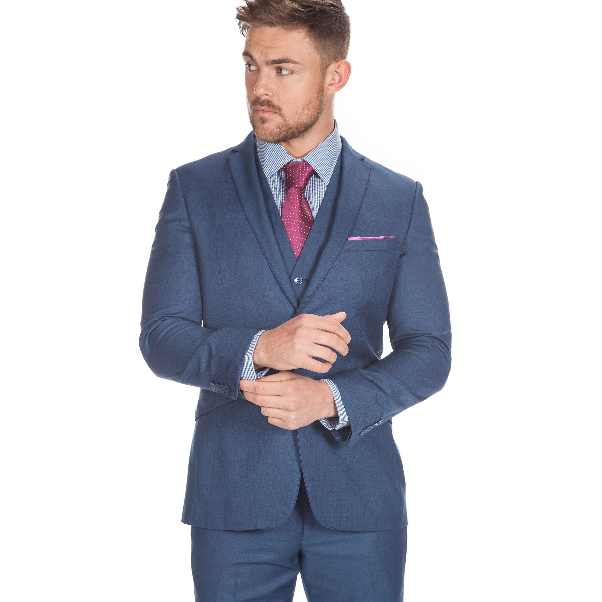 LAMBRETTA Slim Fit Blue Three Piece Suit - All Mens Suits - Mens ...