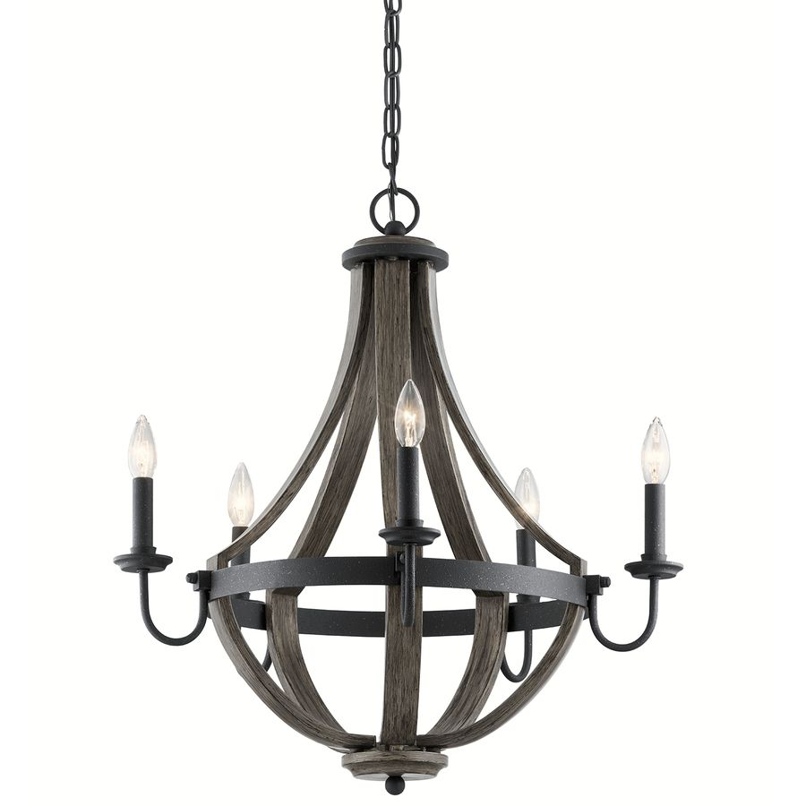 Kichler Lighting Merlot 25-in 5-Light Distressed Black and Wood Barn ...