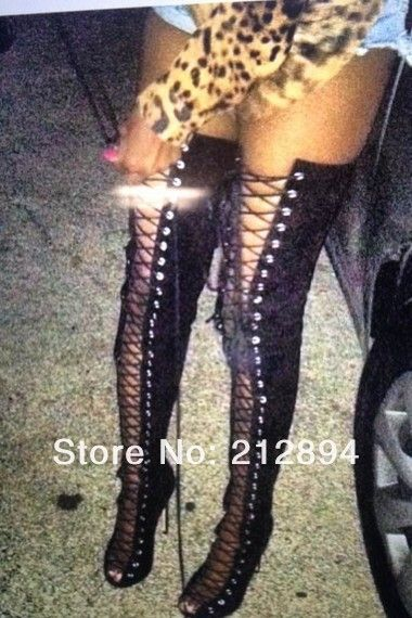 9c059734cf8 2013 Hot Sale New Sexy Open Toe Lace Up Black Gladiator Heels Thigh High  Boots For Women-in Boots from Shoes on Aliexpress.com
