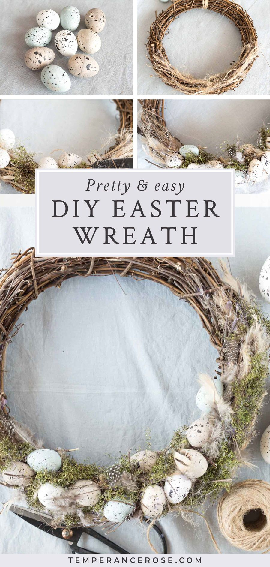 Photo of Natural DIY Easter wreath with speckled eggs