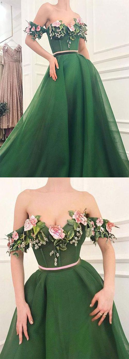 Chic Off the Shoulder Green Prom Dress with Flowers Long Evening Gown 2