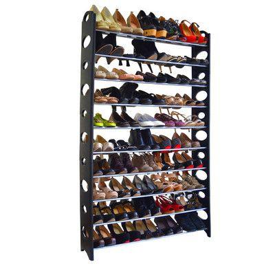 Rebrilliant 50 Pair Stackable Shoe Rack Plastic Shoe Rack Metal Shoe Rack Space Saving Shoe Rack