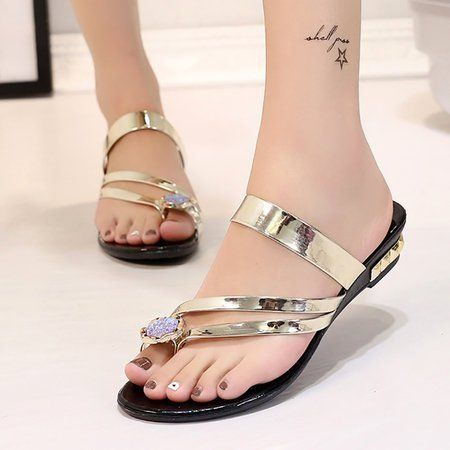 4bf75fc57ad Buy Slippers For Women at PopJulia. Online Shopping PU Flat Heel Summer  Flower Toe Ring Slippers