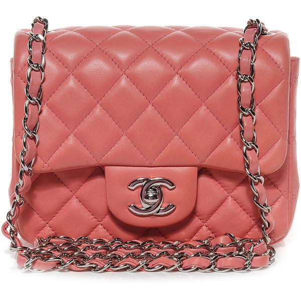 3df34aa5a4ea CHANEL Lambskin Quilted Mini Square Flap Dark Pink found on Polyvore ...