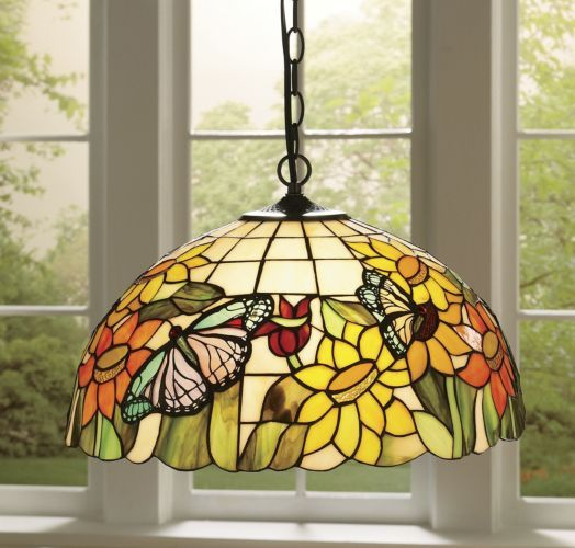 Pendant lamp stained glass sunflower butterfly from seventh avenue