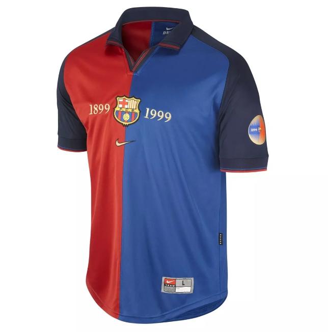 Barcelona Nike 1999 2000 Retro 100 Year Anniversary Jersey