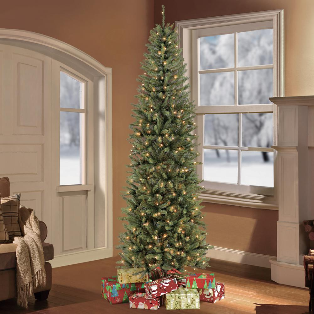 Puleo International 7 5 Ft Pre Lit Fraser Fir Pencil Tree Artificial Christmas Tree With 350 Clear Lights 277 Ffpt 75c35 The Home Depot Pencil Christmas Tree Fir Christmas Tree Slim Artificial Christmas Trees