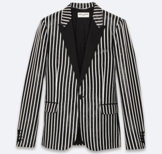 Saint Laurent Single Breasted Black and White Striped Wet Tuxedo