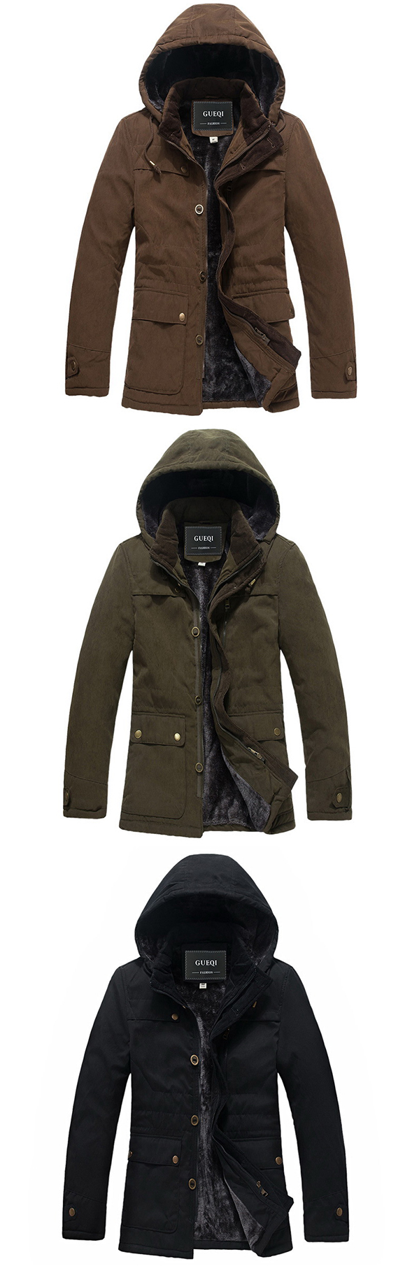 Thick Inside Fleece Warm Hooded Pockets Solid Color Jacket