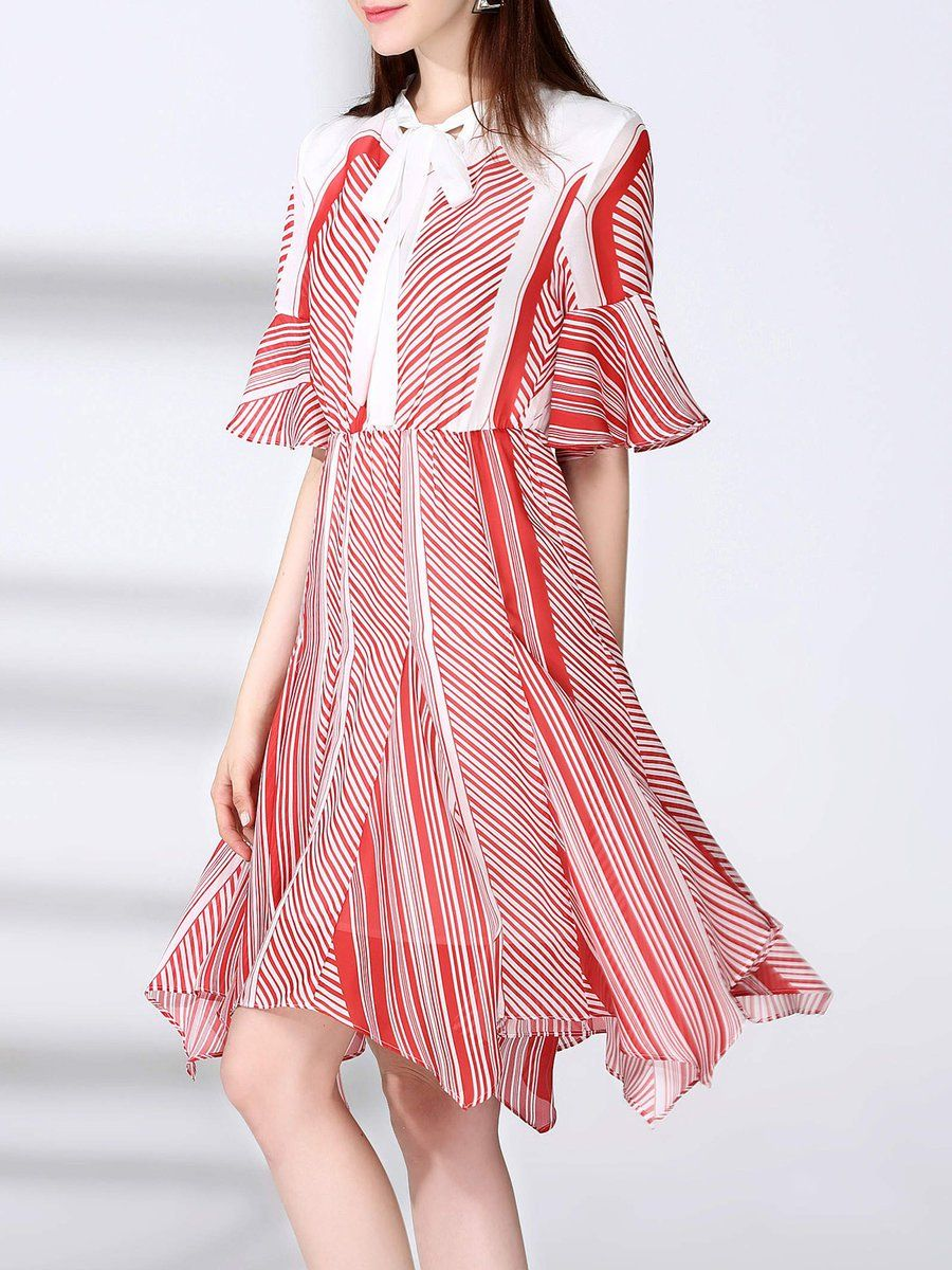#AdoreWe #StyleWe Midi Dresses❤️Designer NATURAL HOUSE Stripes Casual Chiffon Bow Asymmetrical Bell Sleeve Midi Dress - AdoreWe.com