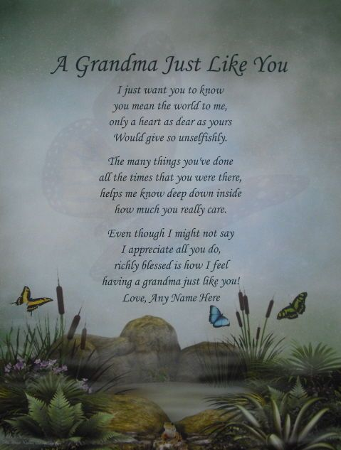 Short Mothers Day Poem: GRANDMA LIKE YOU PERSONALIZED POEM