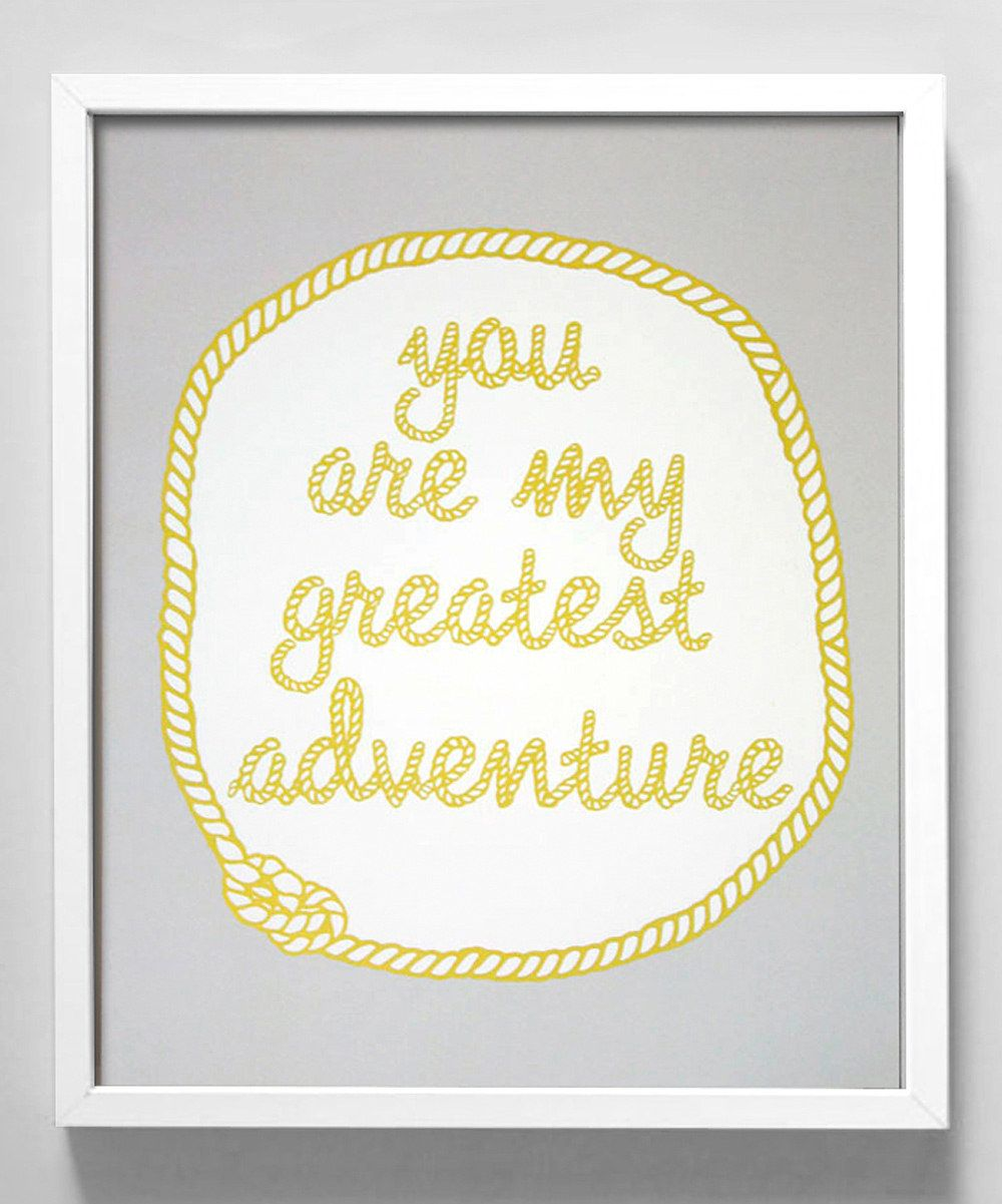 Yellow 'You Are My Greatest Adventure' Print