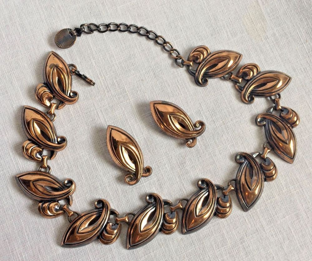 Copper Necklace And Clip Earring Set Vintage Adjule Clasp