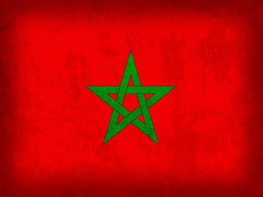 Morocco Flag Vintage Distressed Finish Flag Art Morocco Flag