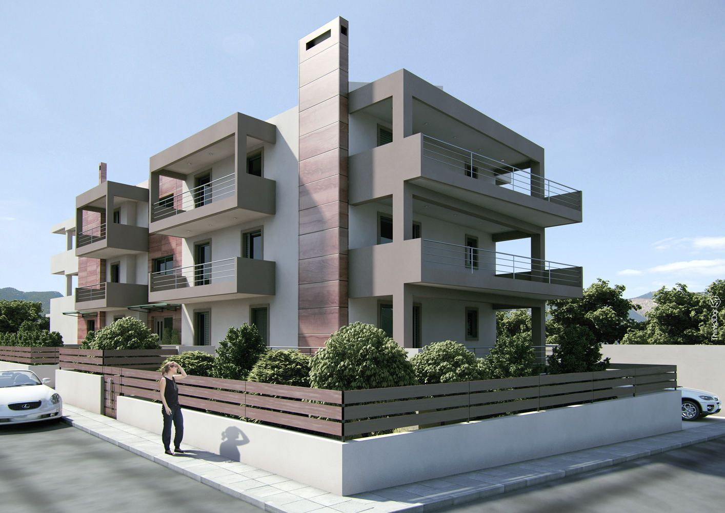 Amazing design modern small apartment complex with for Modern style apartment