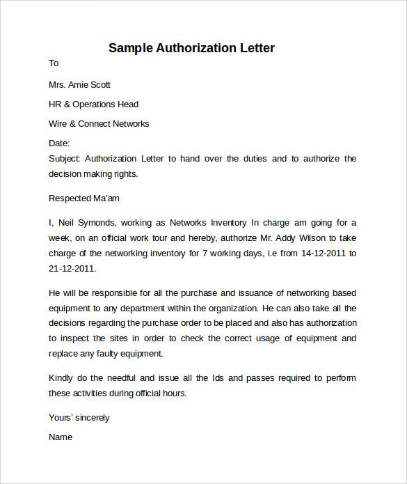 sample letter authorization free documents pdf word for collection - cna job duties