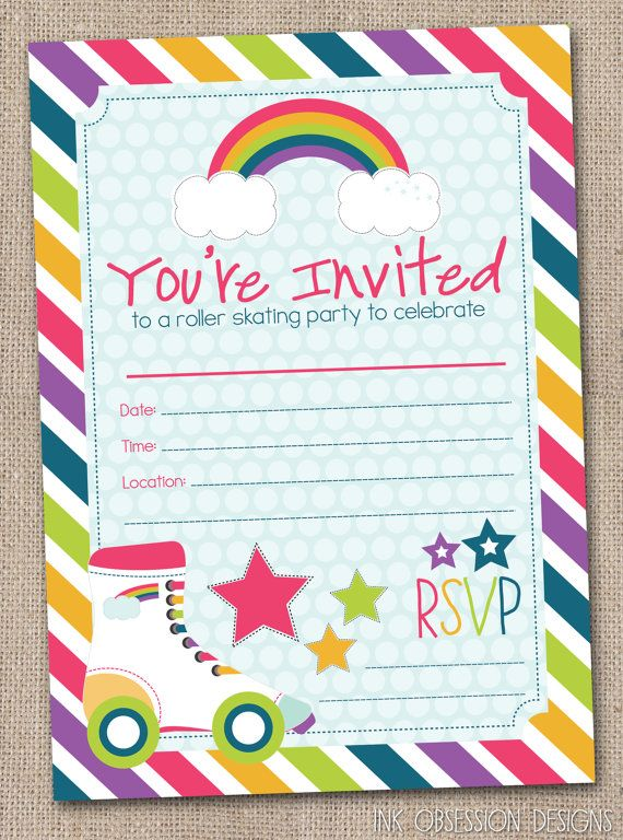 Fill In Roller Skating Party Invitations by InkObsessionDesigns – Roller Skate Birthday Invitations