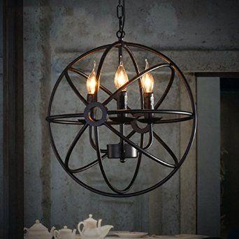 Round Rustic Chandeliers perfectshow 4-lights vintage edison metal shade round hanging