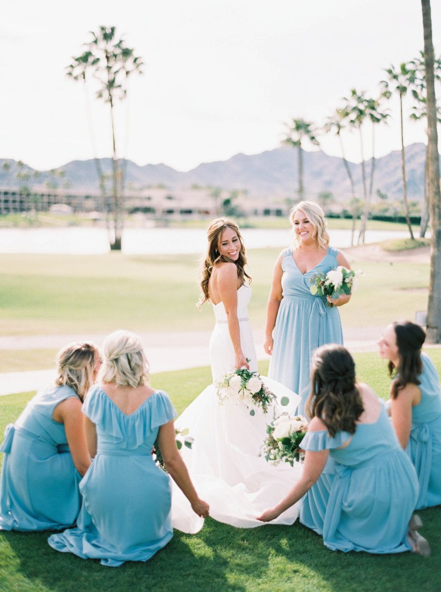 Middle school sweethearts tie the knot 14 years later wedding blue scottsdale wedding bridesmaids dresses joanna august http ombrellifo Images