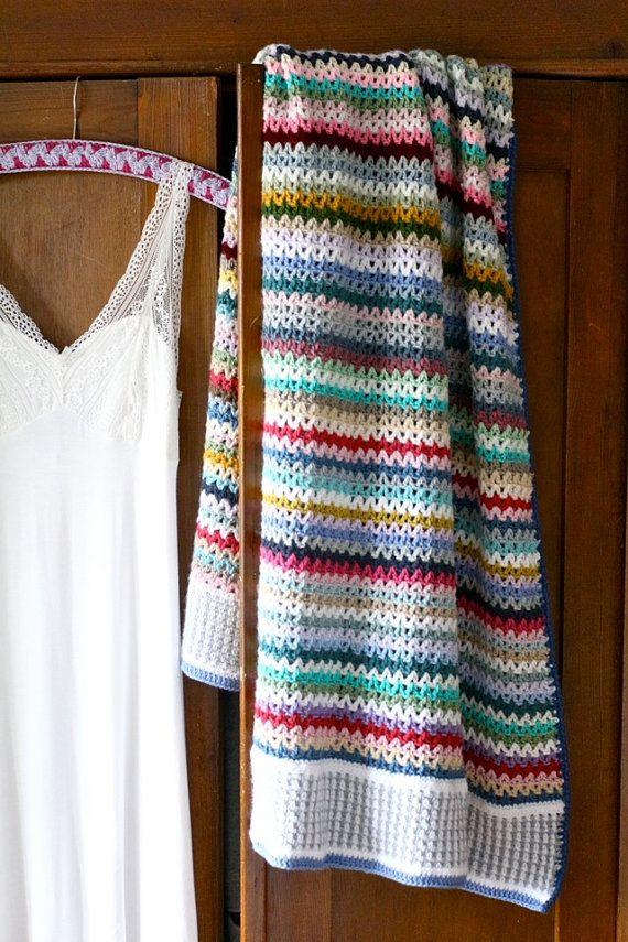 Crochet Blanket Pattern - Scrappy Happy V-stitch Blanket - US, UK ...