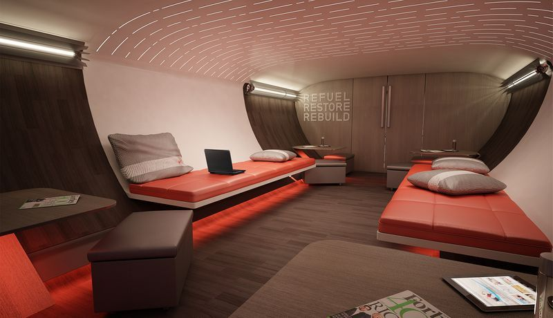 The lounge in the lower lobe is available for athletes who prefer not to sleep after a game and like to decompress a little more socially.