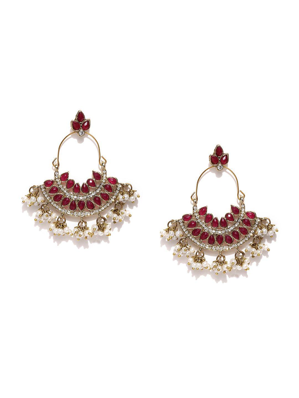 Buy zaveri pearls maroon u off white drop earrings accessories
