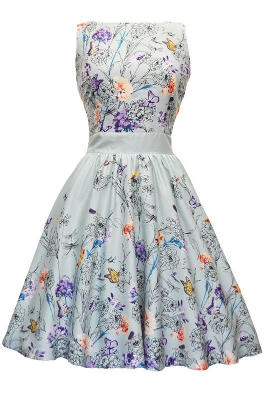 Mint Green Butterfly Floral Border Tea Dress : Lady Vintage