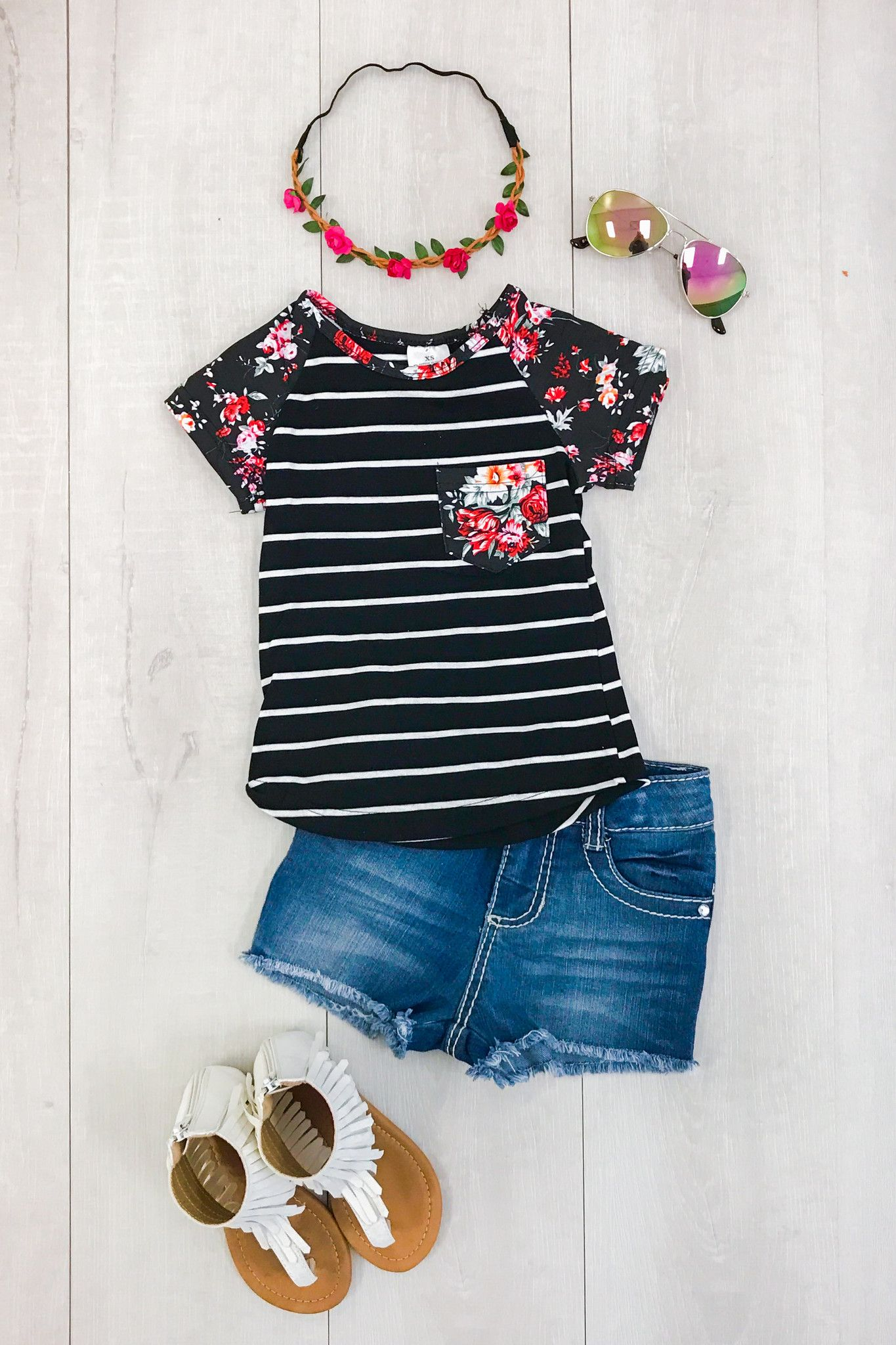 Black Stripe with Floral Pocket T-Shirt from Sparkle in Pink Our short  sleeve shirts are great quality and stunning! Perfect for Spring and Summer  and even ... 33a98de34e98