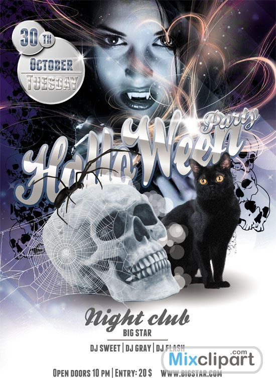 Cat - Template Flyer Halloween Party - Free Psd File | Free Source