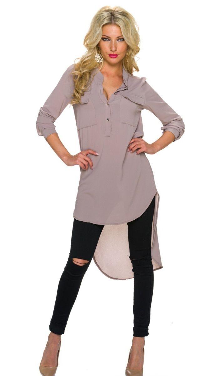 Outlet Store Verkauf billig werden akribische Färbeprozesse lange vokuhila bluse mit knopfleiste | Mode für Frauen ...
