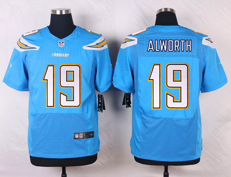 Men's San Diego Chargers #19 Lance Alworth Light Blue Alternate NFL Nike Elite Jersey
