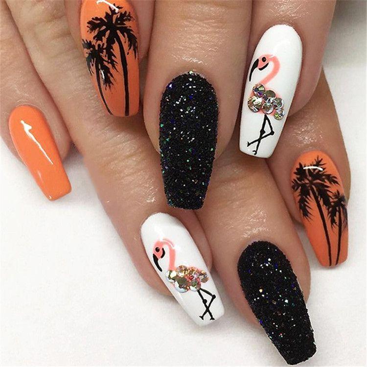 Black white acrylic coffin nail ideas are timeless ...