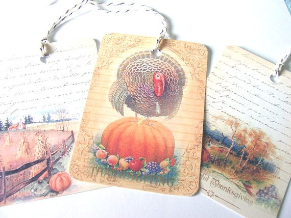 Beautiful Thanksgiving Harvest Tags Set of 6 Artistic by SiriusFun, $5.50