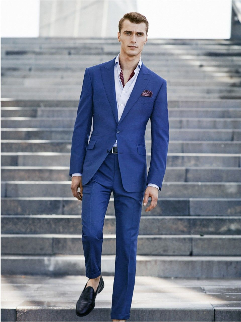 Royal Blue tailored suit, Fall 2014, HE by Mango. Rock the no socks