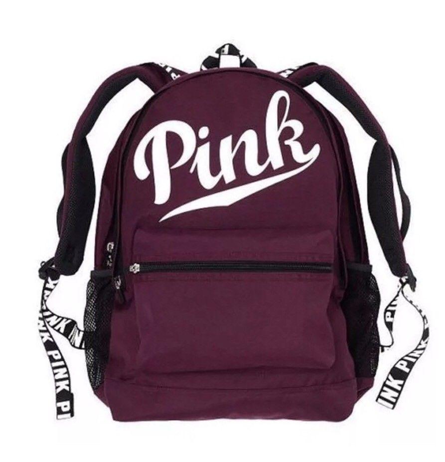 e5565c6c7a4c9 Victoria's Secret Pink Campus BURGUNDY Maroon Backpack Black Orchid ...